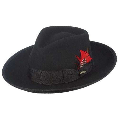 felt-zoot-fedora-by-scala-in-black-medium-brim-feather-accent-black-hat-black-ribbon-mens-womens-hats--winter-collection-sherlockshats.com