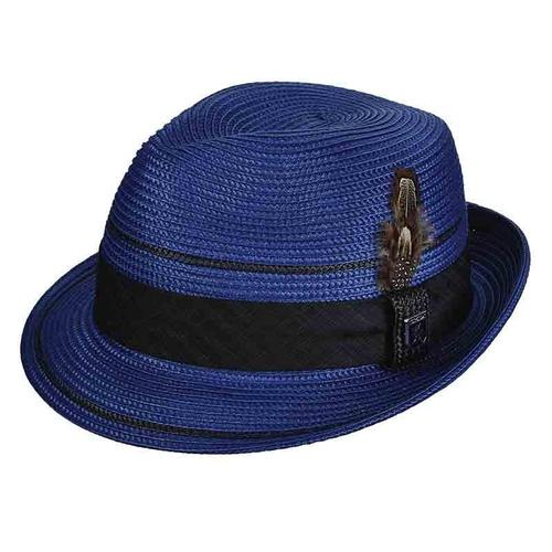 Polybraid Straw Pinch Crown Fedora by Stacey Adams