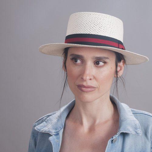 boater-panama-by-sherlocks-natural-ecuadorian-steaw-boater-panama-hat-with-red-and-navy-ribbon-womens-mens-summer-collection-UV-protection-sherlockshats.com