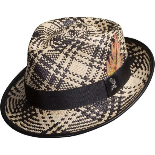 fenix-straw-panama-hat-by-carlos-santana-unisex-summer-collection-in-black-and-white-with-hand-painted-feather-sherlockshats.com