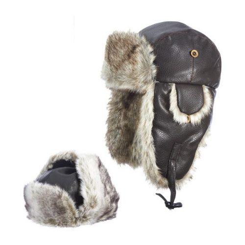 Pilot Faux Leather Trapper Hat by DPC