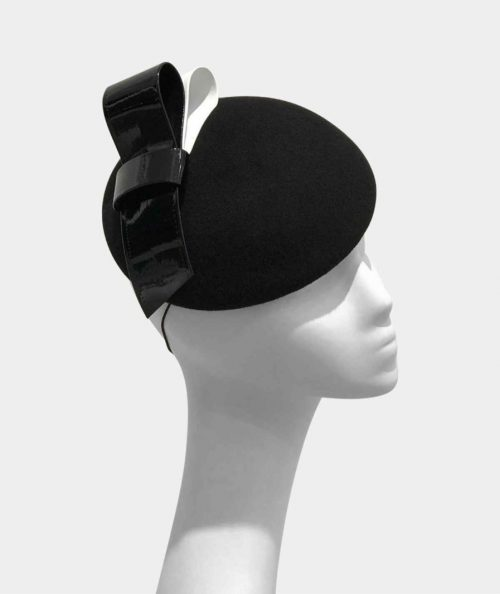 pavona-pillbox-by-danielle-mazin-fascinator-womens-hat-in-black-with-bow-detail-sherlockshats.com