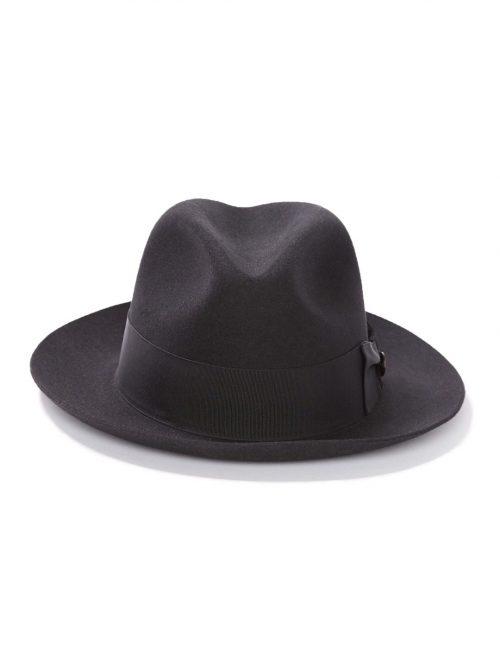 temple-fedora-by-stetson-in black-and-grey-medium-brim-up-or-downturned-classic-fedora-winter-hat-mens-sherlockshats.com
