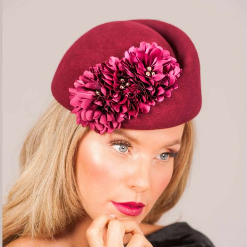 tandreax-by-danielle-mazin-womens-fascinator-in-cranberry-red-with-red-flower-applique-made-in-israel-sherlockshats.com