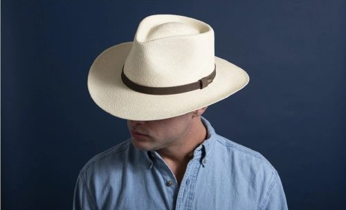 Albuquerque-panama-straw-outback-hat-by-scala-mens-summer-collection-handmade-ecuadorian-straw-cowboy-style-natural-white-straw-color-sherlockshats.com