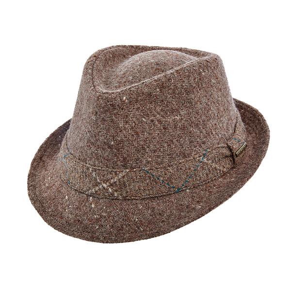 ford-trilby-by-stetson-wool-plaid-brown-pattern-short-brim-down-brim-mens-winter-hat-sherlockshats.com