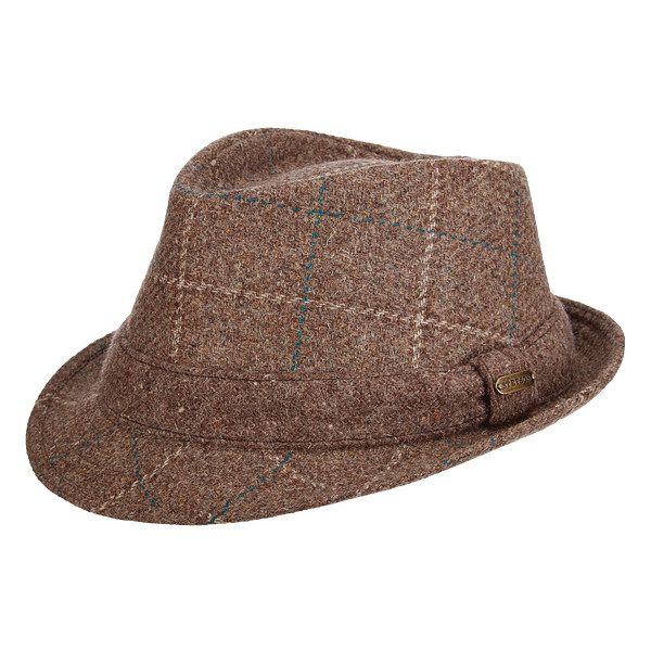calhoun-wool-fedora-by-stetson-trilby-style-short-brim-down-brim-in-the-front-up-in-the-back-brown-plaid-wool-winter-hat-mens-collection-sherlockshats.com