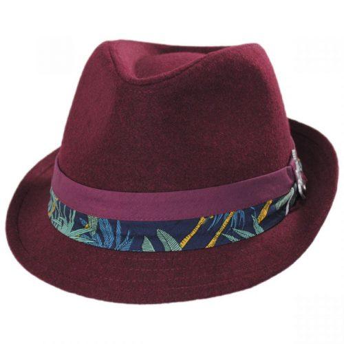 selba-wool-blend-short-brim-fedora-in-burgundy-by-carlos-santana-collection-sherlockshats.com