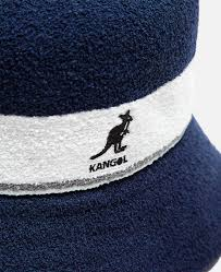 Bermuda-stripe-bucket-hat-in-navy-white-with-grey-stripe-kangol-symbol-on-front-short-brim-terry-fabric-sun-hat-summer-bucket-hat-men-women-sherlockshats.com