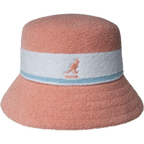 Bermuda-stripe-bucket-hat-in-peach-white-with-blue-stripe-kangol-symbol-on-front-short-brim-terry-fabric-sun-hat-summer-bucket-hat-men-women-sherlockshats.com