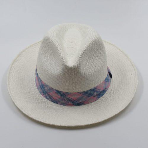 teddy-panama-hat-by-sherlocks-pink-blue-plaid-ribbon-medium-brim-summer-hat-womens-mens-summer-collection-uv-protection-sherlockshats.com