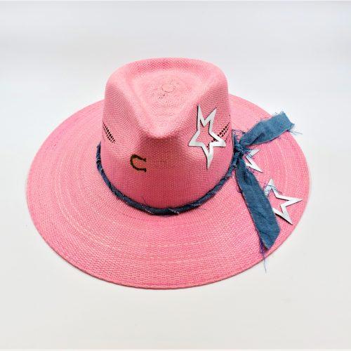 super-star-western-straw-summer-hat-by-stetson-pinnk-wide-brim-womens-hat-with-jean-fabric-ribbon-silverr-star-applique-sherlockshats.com